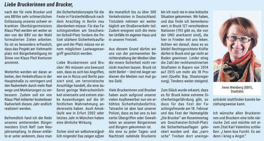 Brucker RathausReport 2017 Beitrag Irene Weinberg
