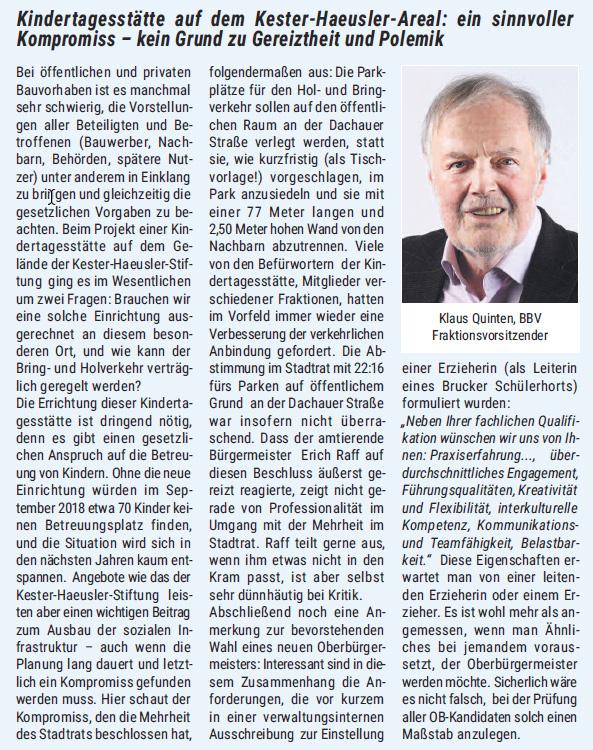 Beitrag von Klaus Quinten im RathausReport April 2017