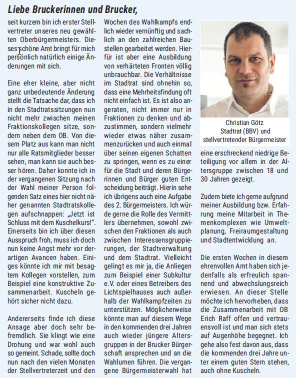 Beitrag von 2. Bürgermeister Christian Götz RathausReport Juni 2017